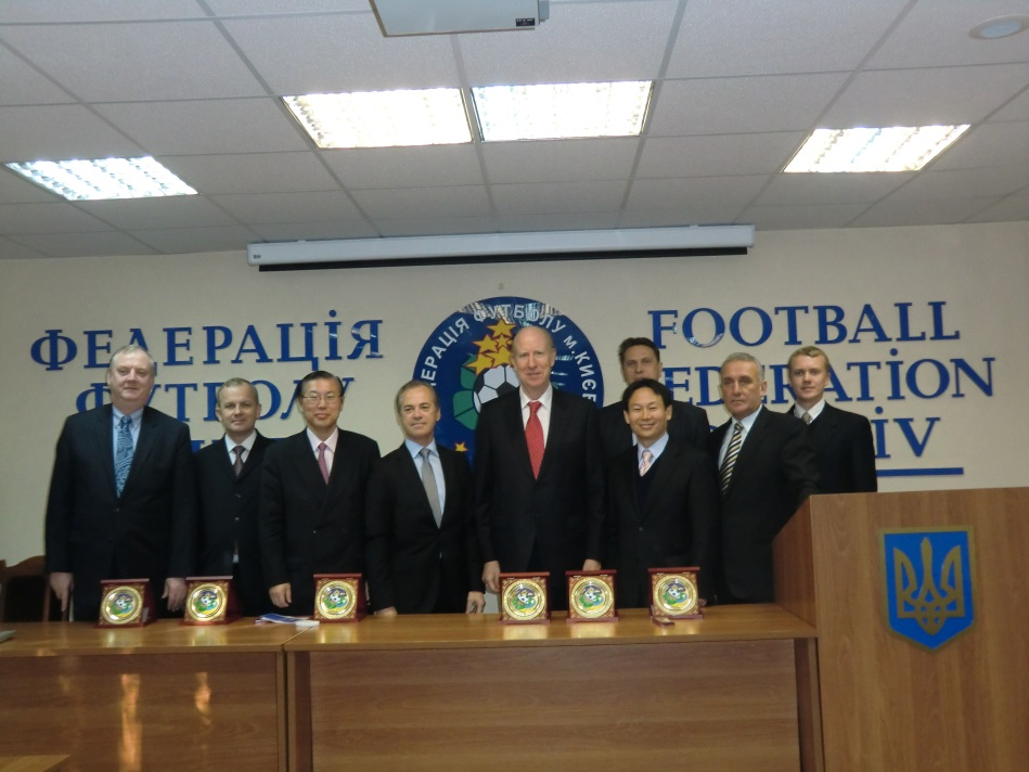 International delegation of Universal Peace Federation headed by Dr. Walsh, International President, at meeting with Kiev Soccer Federation, October 24, 2011.