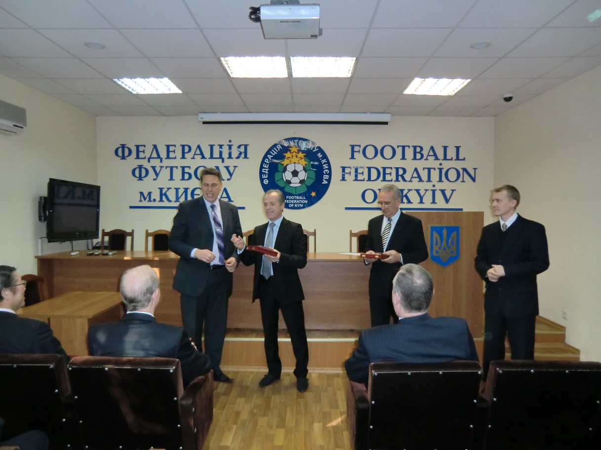 M.Il`yn is being awarded by Kiev Soccer Federation on occasion of 100th anniversary of Ukrainian soccer, October 24, 2011.